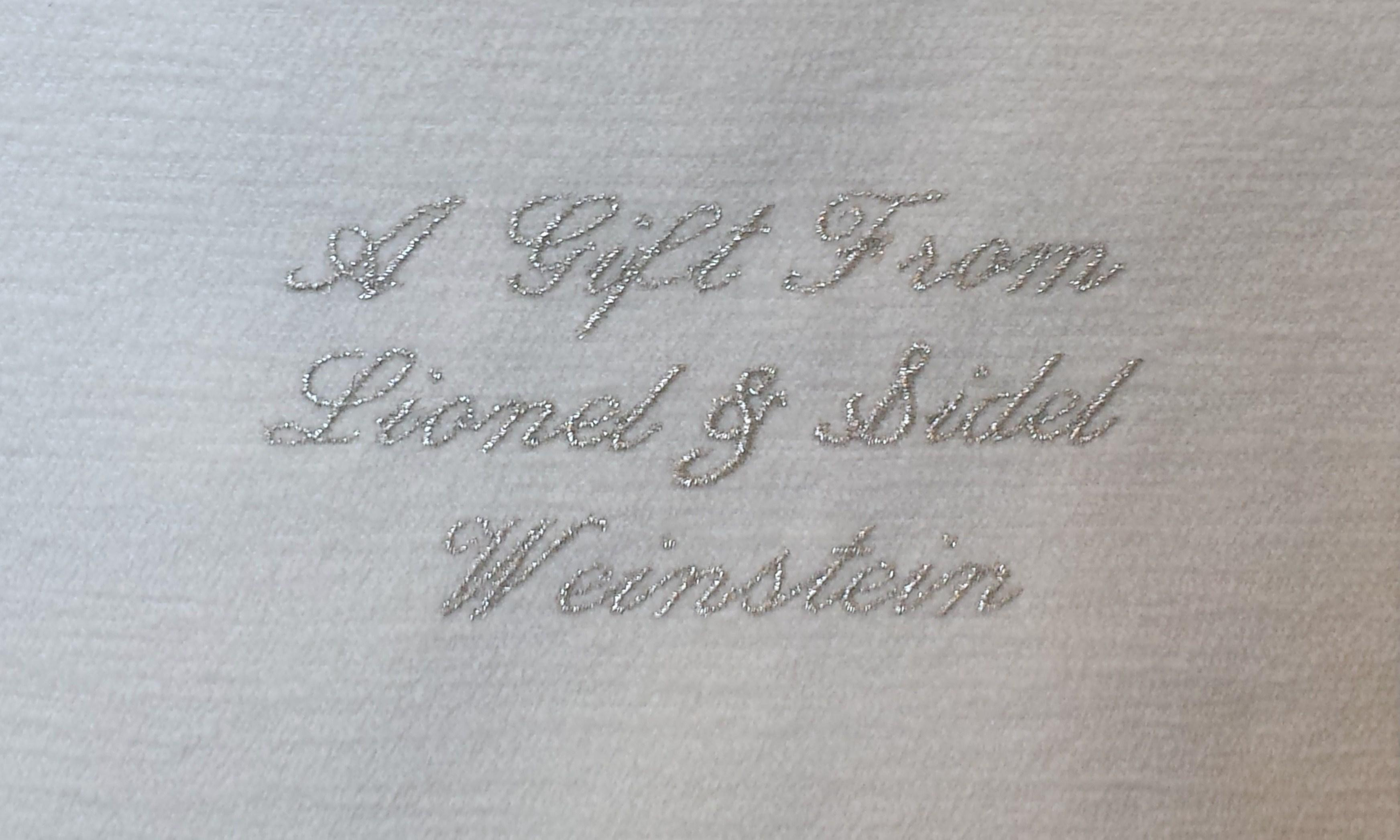 Embroidered Dedication, Script