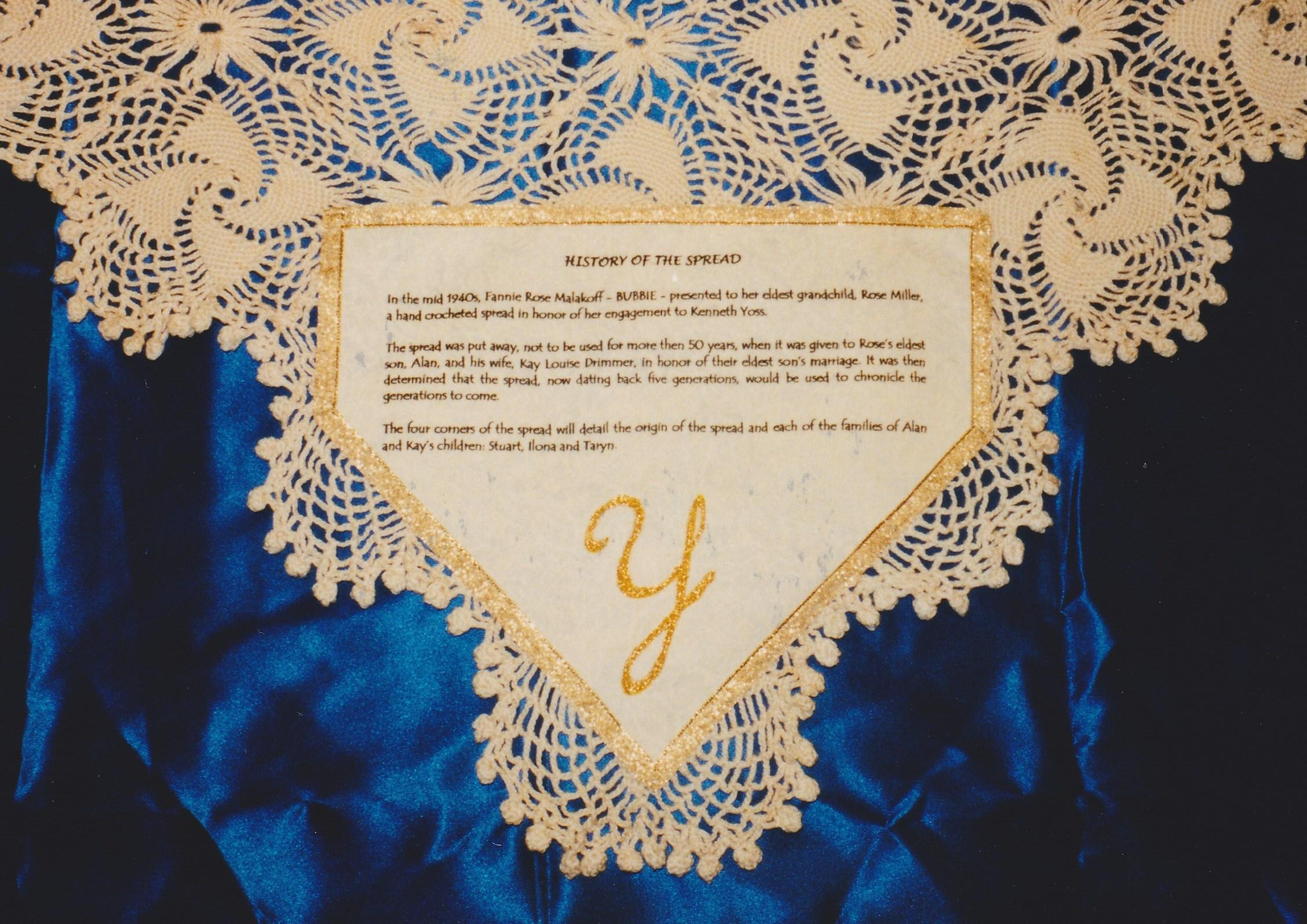 Transferred Dedication w/Embroidery