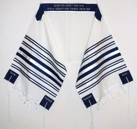 Navy and Silver Striped Tallit