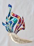 Metallic Stained Glass Dor L'Dor Shofar