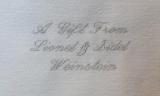 Embroidered Dedication Script Dedication Style