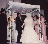 """Eyelet Lace Freestanding Huppah with """"I am my beloveds"""" Inset"""